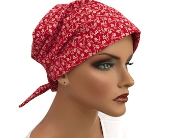 Women's Surgical Scrub Cap, Scrub Hat, Cancer Head Scarf, Chemo Headwear, Alopecia Head Cover, Head Wrap, Cancer Gift, Hair Loss, Red Floral