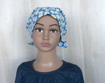 Child's Head Scarf, Girl's Chemo Hat, Cancer Headwear, Alopecia Head Cover, Head Wrap, Cancer Gift for Hair Loss Gift, Blue Daisies