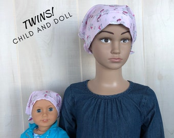 Child And Doll Head Scarves For Girls With Hair Loss, Gift For Daughter, Chemo Hats, Pink Sparkles Unicorns