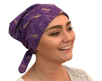 Women's Surgical Scrub Cap, Scrub Hat, Cancer Head Scarf, Chemo Headwear, Alopecia Head Cover, Head Wrap, Cancer Gift, Purple Dragonflies