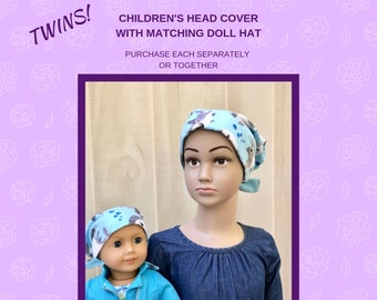 Children's Doll Head Scarf, Matching Doll Hat To Jaye Flannel Scarf, Hat, Head Cover, Cancer, Chemo, Alopecia, Hair Loss, Baby Sharks