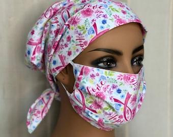 Breast Cancer Awareness Scrub Cap For Women, Oncology Nurse Gift, Pink Ribbon Scrub Hats