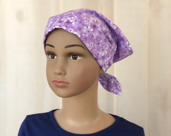 Children's Head Scarf, Girl's Chemo Hat, Cancer Headwear, Alopecia Head Cover, Head Wrap, Cancer Gift for Hair Loss, Lavender Flowers