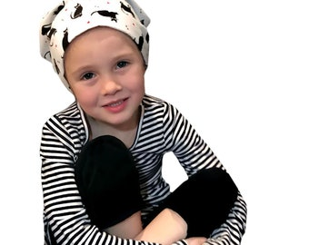 Mia Children's Head Scarf, Girl's Chemo Hat, Cancer Head Cover, Alopecia Headwear, Head Wrap, Cancer Gift for Hair Loss, Black Cats