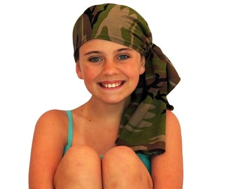 Ava Joy Children's Pre-Tied Head Scarf, Girl's Cancer Headwear, Chemo Head Cover, Alopecia Hat, Head Wrap, Cancer Gift for Hair Loss - Camo