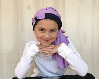 Child's Pre-Tied Head Scarf, Girl's Chemo Hat, Cancer Head Cover, Alopecia Headwear, Head Wrap, Cancer Gift, Hair Loss, Purple Petite Flower