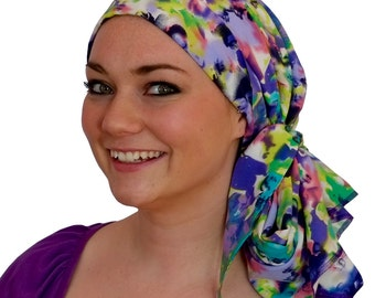 Carlee Pre-Tied Head Scarf, Women's Cancer Headwear, Chemo Scarf, Alopecia Hat, Head Wrap, Head Cover for Hair Loss - Purple Haze