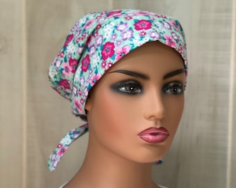 Women's Surgical Scrub Cap, Scrub Hat, Cancer Head Scarf, Chemo Headwear, Alopecia Head Cover, Head Wrap, Cancer Gift,  Pink Green Floral
