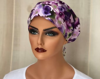 Head Scarf For Women With Hair Loss. Cancer Gifts, Chemo Headwear, Purple Floral
