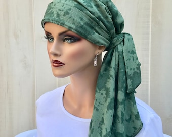 Fall Pre-Tied Head Scarf For Women With Hair Loss, Cancer Gifts, Chemo Headwear, HeadwrapGreen Tie Dye