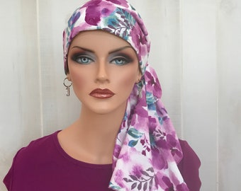 Pre-Tied Head Scarf, Women's Cancer Headwear, Chemo Head Cover, Alopecia Hat, Head Wrap, Turban, Hair Loss, Cancer Gift, Purple Plum Flowers