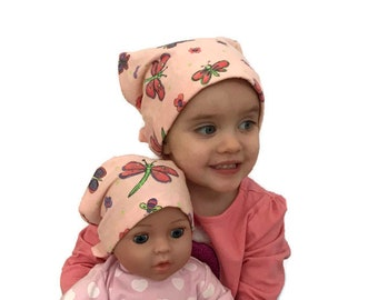 Twin Head Scarves, Jaye Flannel Child Head Scarf, Matching Shiri Doll Hat, Cancer Gift, Chemo, Cancer, Alopecia, Hair loss, Pink Dragonflies
