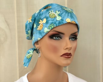 Women's Flannel Head Scarf, Cancer Headwear, Chemo Hat, Alopecia Head Cover, Head Wrap, Turban, Hair Loss, Cancer Gift, Blue Baby Turtles