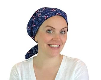 Sandra Scarf, A Women's Surgical Scrub Cap, Cancer Headwear, Chemo Head Scarf, Alopecia Hat, Head Wrap, Hair Loss Blue Breast Cancer Aware