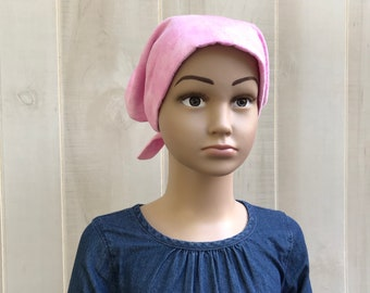Children's Flannel Head Scarf, Girl's Cancer Hat, Chemo Headwear, Alopecia Head Cover, Head Wrap, Cancer Gift, Hair Loss, Pink Clouds