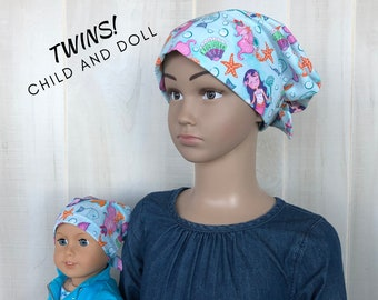 Child And Doll Head Scarves For Girls With Hair Loss, Gift For Daughter, Chemo Hats, Mermaids
