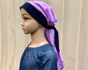 Child's Pre-Tied Head Scarf, Girl's Chemo Hat, Cancer Head Cover, Alopecia Headwear, Head Wrap, Cancer Gift, Hair Loss, Lavender Flowers