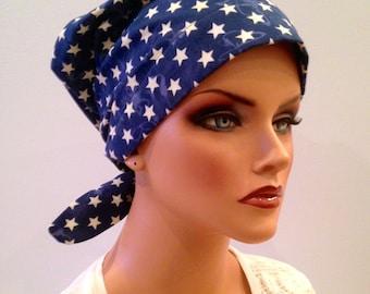 Sandra Women's Surgical Scrub Cap, Cancer Hat, Chemo Head Scarf, Alopecia Head Wrap, Headwear, Cancer Gift, Hair Loss Patriotic Stars