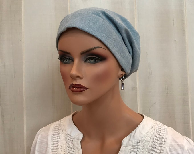 Featured listing image: Head Scarf For Women With Hair Loss. Cancer Headwear, Chemo Hat, Alopecia Head Wrap, Head Cover, Turban, Cancer Gift, Blue Denim