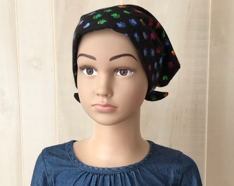Children's Flannel Head Scarf, Girl's Cancer Hat, Chemo Headwear, Alopecia Head Cover, Head Wrap, Cancer Gift, Hair Loss, Black Paws