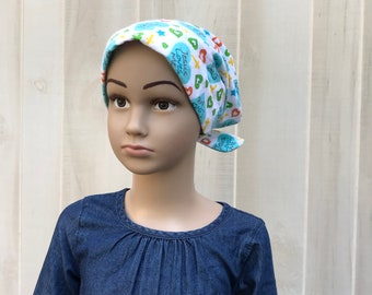 Children's Flannel Head Scarf, Girl's Cancer Headwear, Chemo Hat, Alopecia Head Cover, Head Wrap, Cancer Gift, Hair Loss Gift, Jesus Hearts