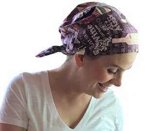 Women's Surgical Scrub Cap, Scrub Hat, Cancer Head Scarf, Chemo Headwear, Alopecia Head Cover, Head Wrap, Cancer Gift, Hair Loss, Wine