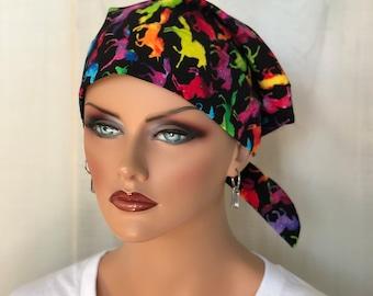 Women's Surgical Scrub Cap, Scrub Hat, Cancer Head Scarf, Chemo Headwear, Alopecia Head Cover, Head Wrap, Cancer Gift, Unicorns on Black