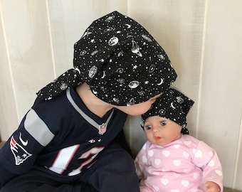 Twin Head Scarves, Child's Head Scarf And Matching Doll Hat, Cancer Gift, Chemo Gift, Alopecia Gift, Hair loss Gift, Glow In The Dark Sky