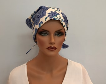 Sandra Women's Surgical Scrub Cap, Cancer Hat, Chemo Head Scarf, Alopecia Head Cover, Head Wrap, Headwear, Hair Loss - Blue Floral Paisley