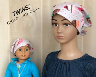 Child And Doll Flannel Head Scarves For Girls With Hair Loss, Cancer Gifts, Chemo Hats, Birthday Cupcakes