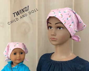 Matching Doll Hat And Child's Jill Head Cover For Children With Hair Loss. Childhood Cancer, Chemo, Alopecia, Pink Rainbow Unicorns