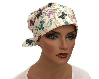Women's Surgical Scrub Cap, Scrub Hat, Cancer Head Scarf, Chemo Headwear, Alopecia Head Cover, Head Wrap, Cancer Gift, Paris Butterflies
