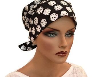 Women's Surgical Scrub Cap, Scrub Hat, Cancer Head Scarf, Chemo Headwear, Alopecia Head Cover, Head Wrap, Cancer Gift, Hair Loss, Black Dice