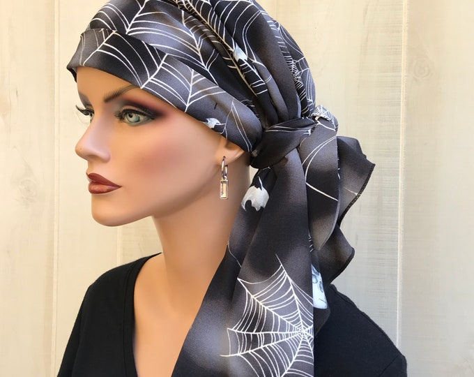 Featured listing image: Halloween Pre-Tied Head Scarf, Breast Cancer Gift, Spiders And Skulls