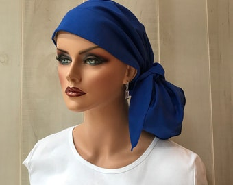 Pre-Tied Head Scarf For Women With Hair Loss, Cancer Gifts, Chemo Headwear, Headwrap, Royal Blue