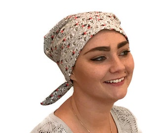 Women's Surgical Scrub Cap, Scrub Hat, Cancer Head Scarf, Chemo Headwear, Alopecia Head Cover, Head Wrap, Cancer Gift, Gray and Red Flowers