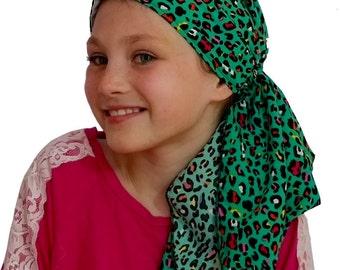 Ava Joy Children's Pre-Tied Head Scarf, Girl's Cancer Headwear, Chemo Head Cover, Alopecia Hat, Head Wrap, Hair Loss - Green Leopard