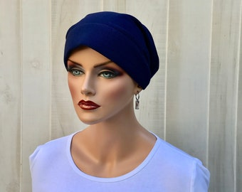 Head Scarf For Women With Hair Loss. Cancer Headwear, Chemo Hat, Alopecia Head Wrap, Head Cover, Turban, Cancer Gift, Navy Blue