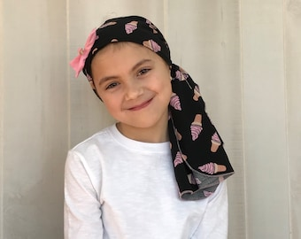 Child's Pre-Tied Head Scarf, Girl's Chemo Hat, Cancer Head Cover, Alopecia Headwear, Head Wrap, Cancer Gift, Hair Loss, Pink Ice Cream Cones