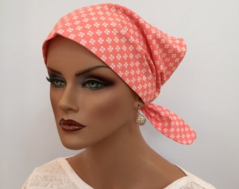 Sandra Scarf, A Women's Surgical Scrub Cap, Cancer Headwear, Chemo Head Scarf, Alopecia Hat, Head Wrap, Head Cover, Hair Loss, Coral Flowers