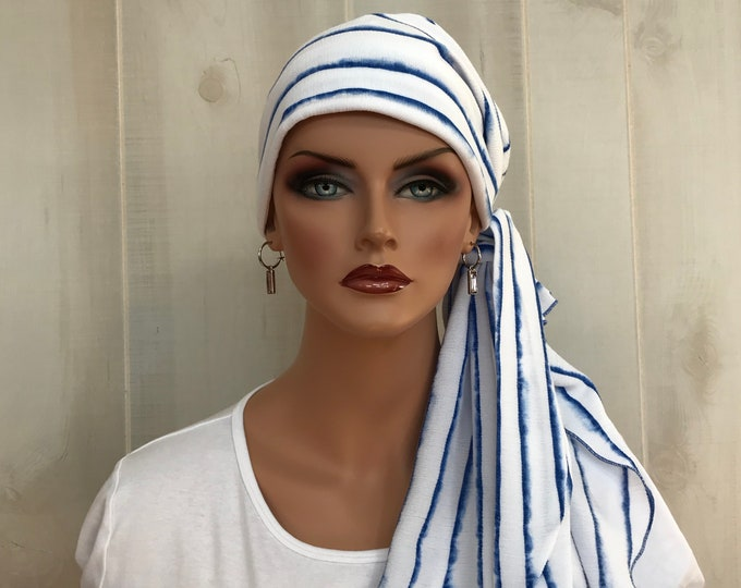Featured listing image: Pre-Tied Head Scarf, Women's Cancer Headwear, Chemo Head Cover, Alopecia Hat, Head Wrap, Hair Loss, Cancer Gift, White with Blue Stripes
