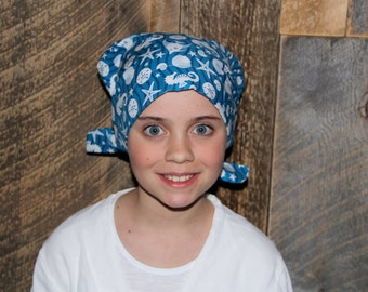 Child's Head Scarf, Girl's Chemo Hat, Cancer Headwear, Alopecia Head Cover, Head Wrap, Cancer Gift for Hair Loss Gift, Chemo Gift, Blue Sea