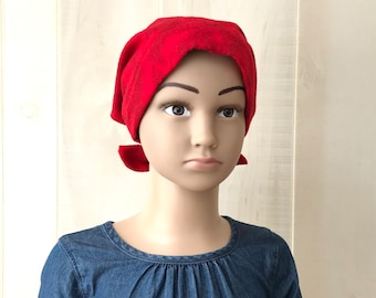 Children's Flannel Head Scarf, Girl's Cancer Hat, Chemo Headwear, Alopecia Head Cover, Head Wrap, Cancer Gift, Hair Loss, Red Clouds