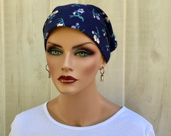 Head Scarf For Women With Hair Loss. Cancer Headwear, Chemo Hat, Alopecia Head Wrap, Head Cover, Turban, Cancer Gift, Navy Yellow Flowers