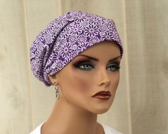 Women's Surgical Scrub Cap, Scrub Hat, Cancer Head Scarf, Chemo Headwear, Alopecia Head Cover, Head Wrap, Hair Wrap, Turban, Purple Daisies