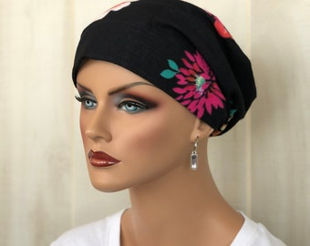 Boho Head Scarf For Women With Hair Loss, Cancer Gifts, Chemo Headwear, Black Floral