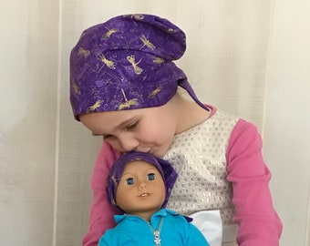 Twin Head Scarves, Child's Head Scarf And Matching Doll Hat, Cancer Gift, Chemo Gift, Alopecia Gift, Hair loss Gift, Purple Dragonflies