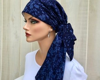 Pre-Tied Head Scarf For Women With Hair Loss. Cancer Headwear, Chemo Head Cover, Alopecia Hat, Head Wrap, Turban, Cancer Gift, Blue Tie Dye