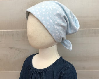 Children's Flannel Head Scarf, Girl's Cancer Hat, Chemo Headwear, Alopecia Head Cover, Head Wrap, Cancer Gift, Hair Loss, Blue Tiny Flowers