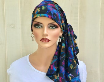 Animal Print Pre-Tied Head Scarf For Women With Hair Loss, Gift For Wife, Chemo Headwear, Jaguars